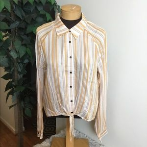 Love,fire L button down knotted front long sleeve